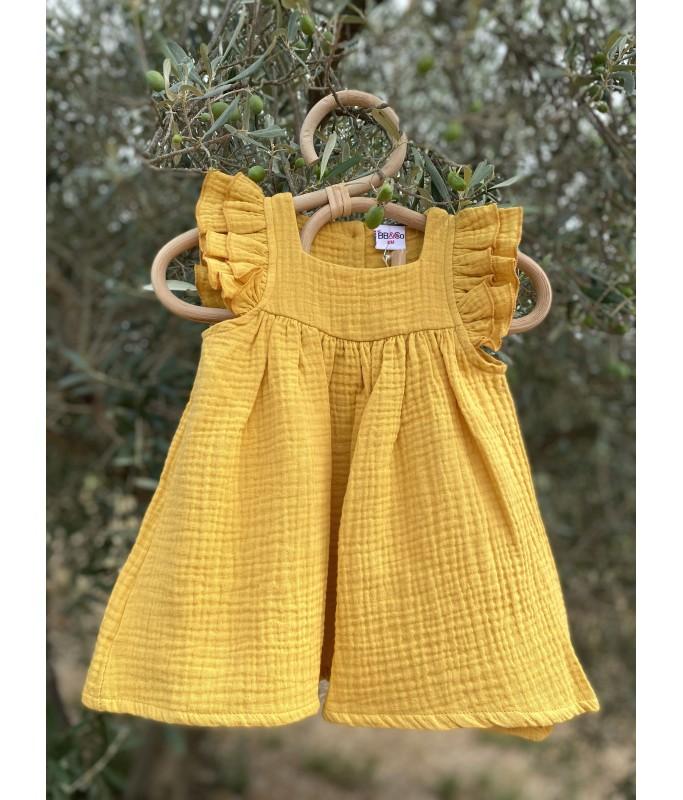 Robe évasée gaze de coton moutarde - 6 mois