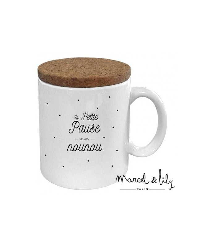 Mug avec couvercle en liège - Pause de ma nounou