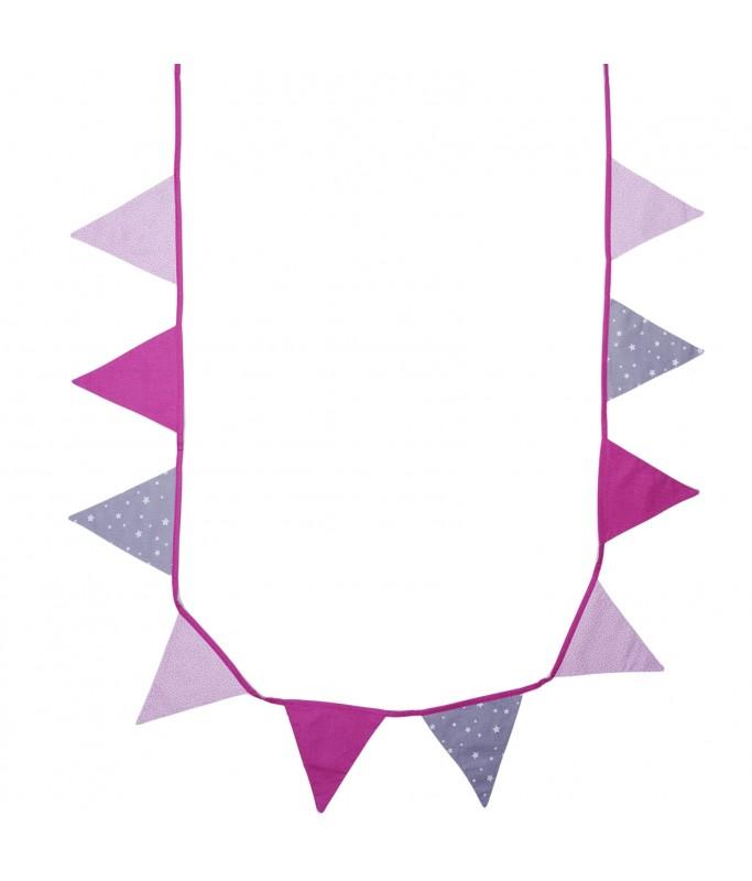 Guirlande - fanion de tissu rose/gris