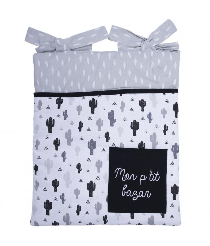 Pochette de rangement noir/blanc/gris