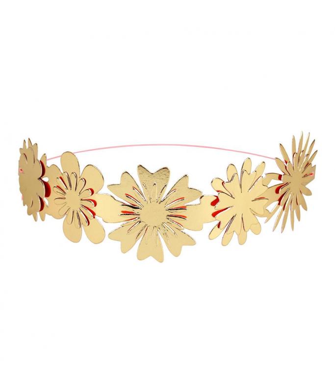 Couronnes Fleurs Dorées x8