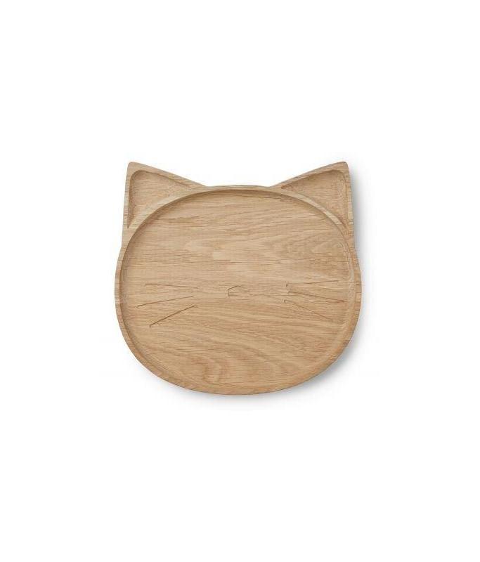 Assiette en bois Chat