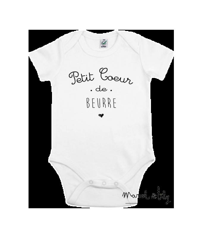 "Body bio + pochon tissu ""Petit coeur de beurre"" - 3/6 mois"