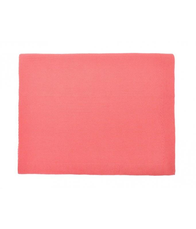 Couverture tricotée Rose Corail
