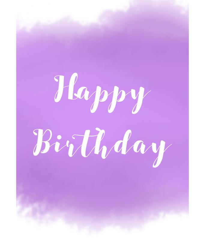 Carte Postale Happy Birthday - violet