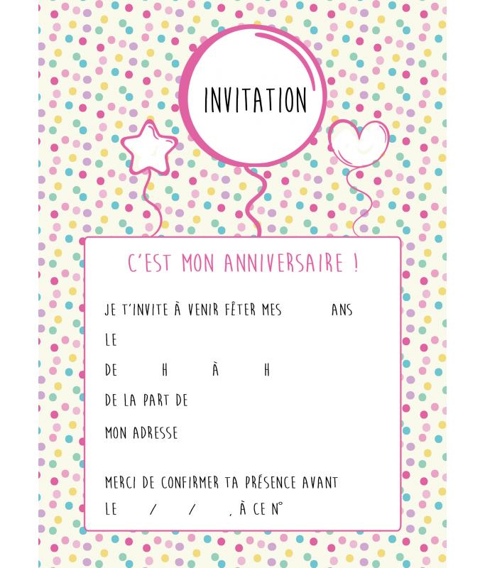 Carte D Invitation Anniversaire Ballons La Folle Idee