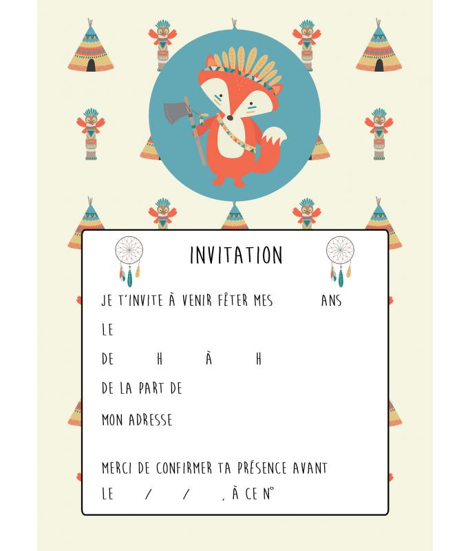 Carte d'invitation anniversaire Indien