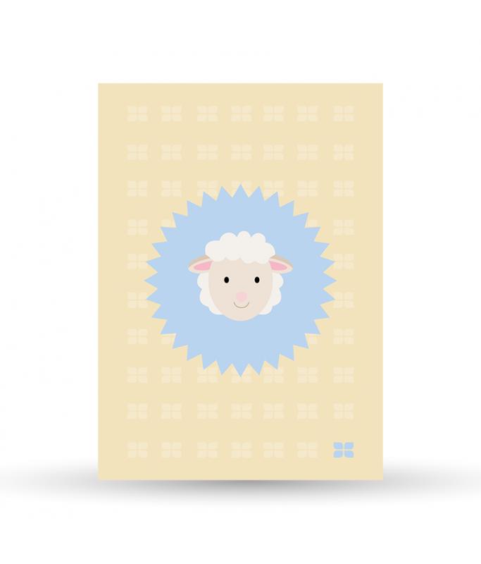 Carte Postale Mouton - bleu