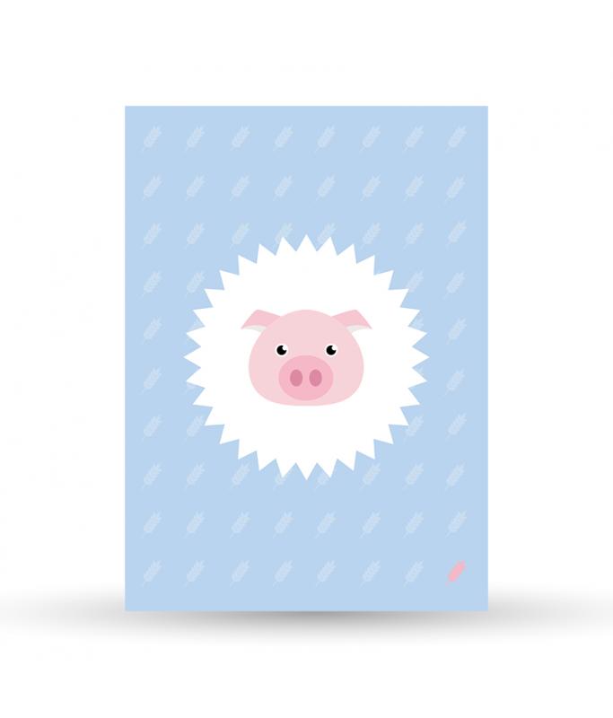 Carte Postale Cochon - bleu