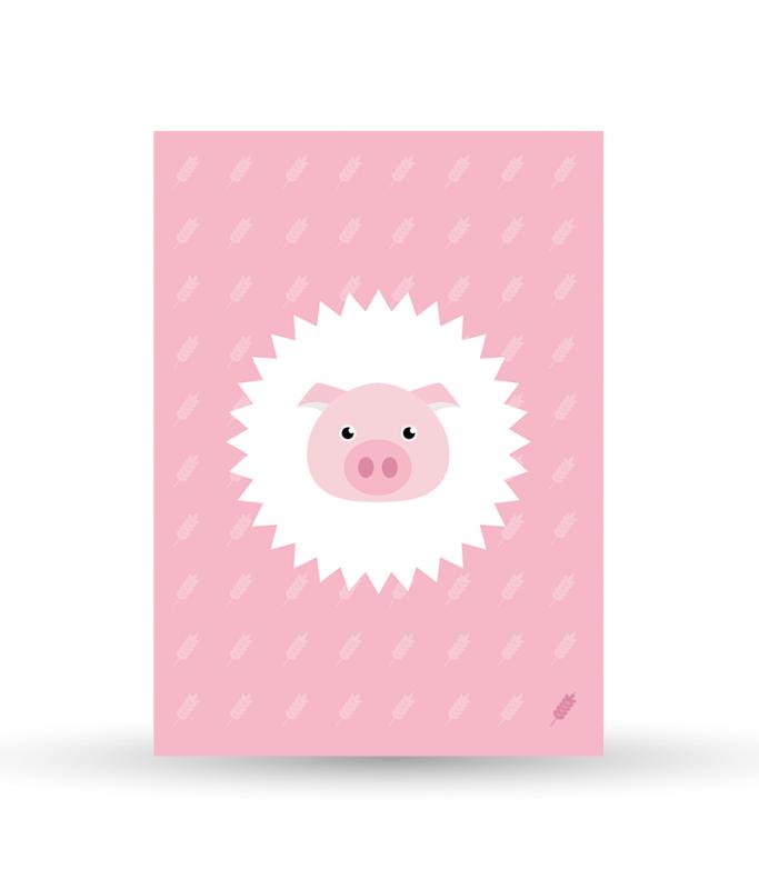 Carte Postale Cochon - rose