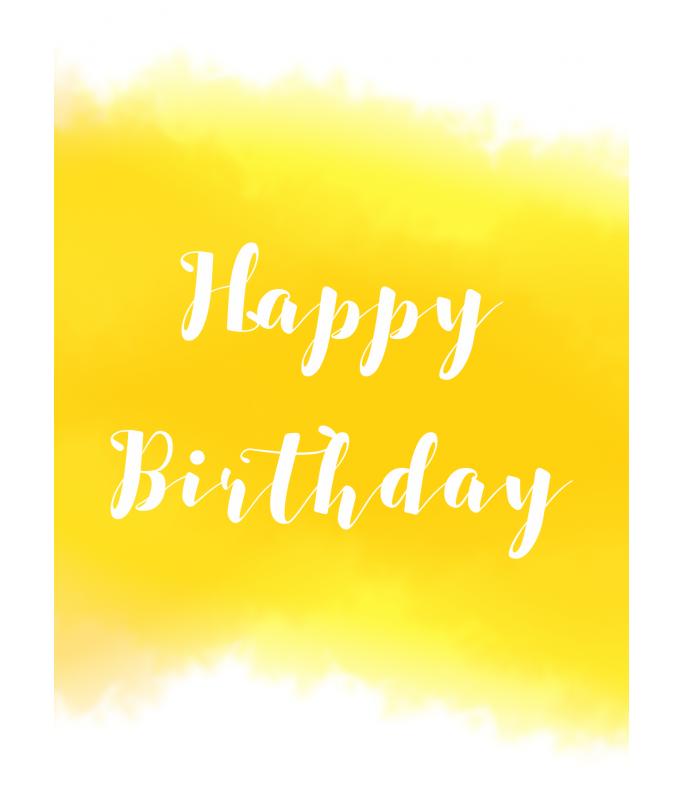 Carte Postale Happy Birthday - jaune