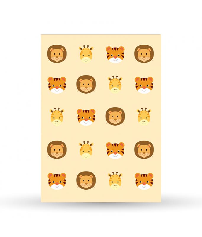 Carte Postale Motif Jungle - jaune