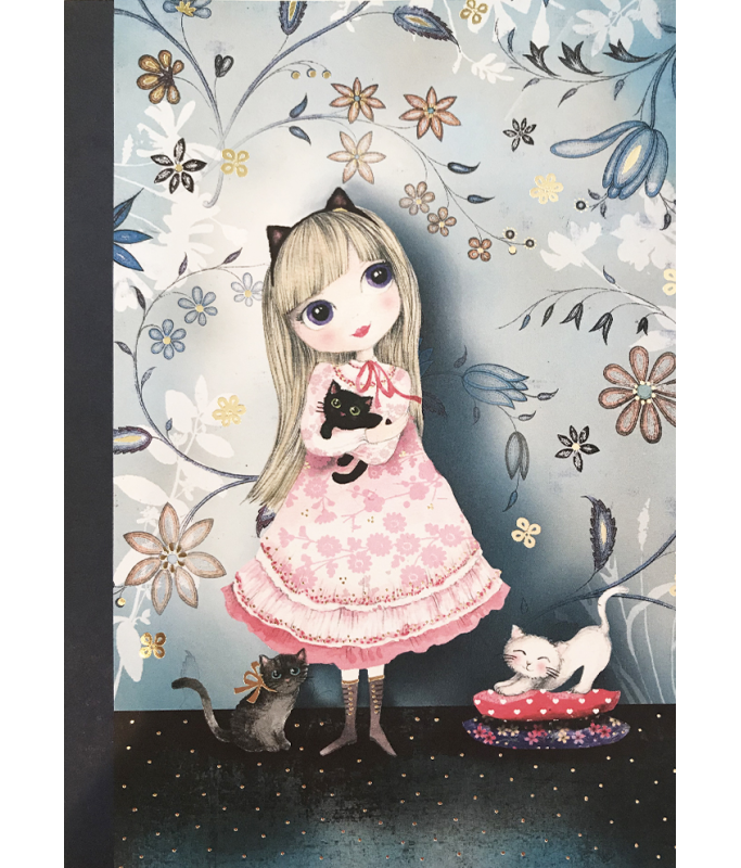 Petit cahier : fille avec chat