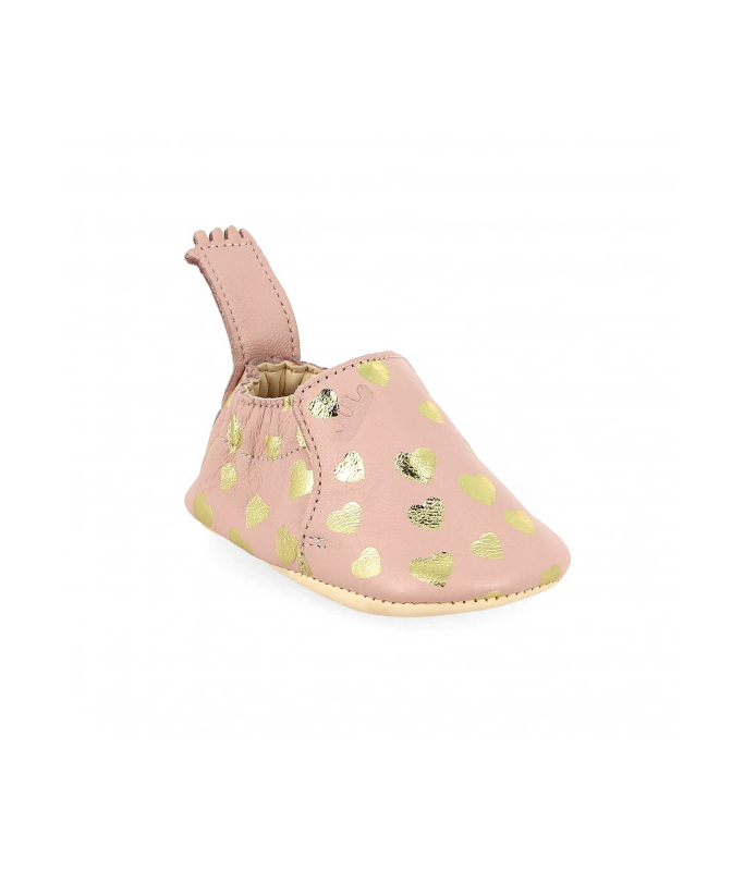 Chaussons BLUMOO LOVELY Rose Baba/Or - 0/6 mois