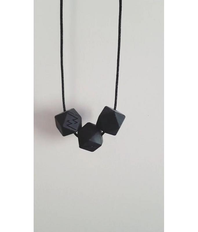 Collier Silicone 3 perles - Noir