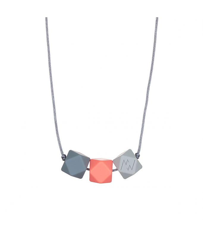 Collier Silicone 3 perles - Gris foncé