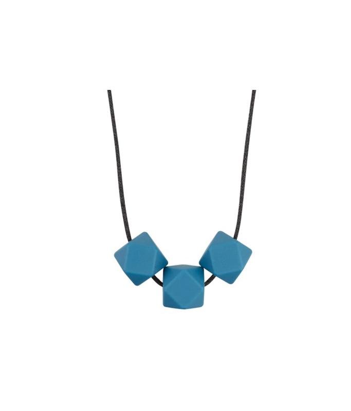 Collier Silicone 3 perles - bleu pétrole