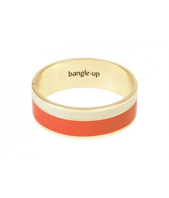 Bracelet bicolore avec fermoir - Tangerine/Blanc Sable