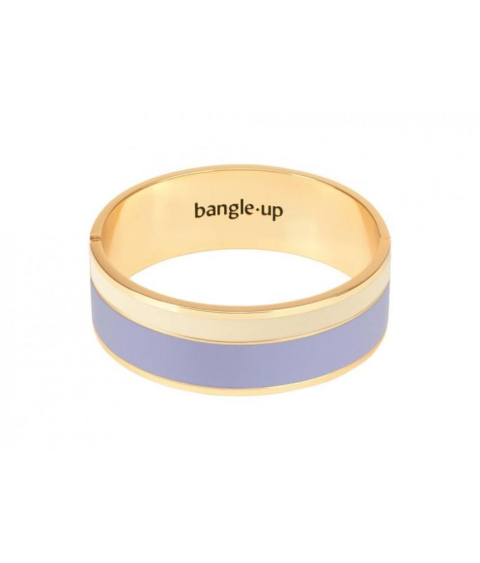 Bracelet bicolore avec fermoir en métal - Lavande / Blanc sable