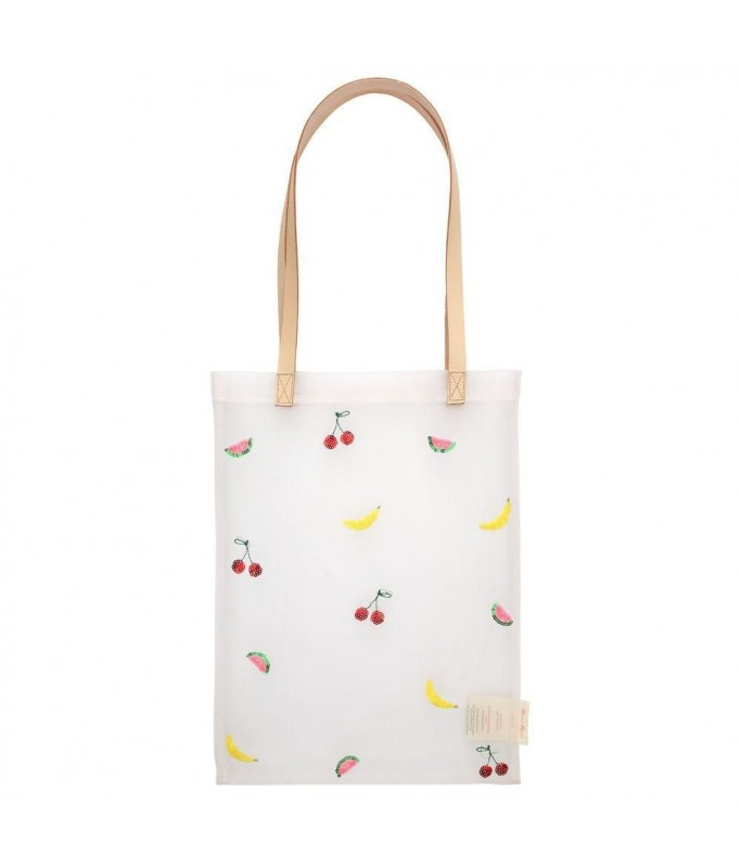 Tote bag en tissu mesh - fruits en sequins