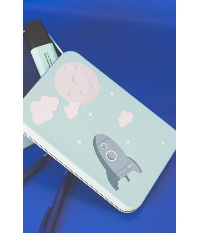 Boîte à souvenirs - métal avec sticker fusée