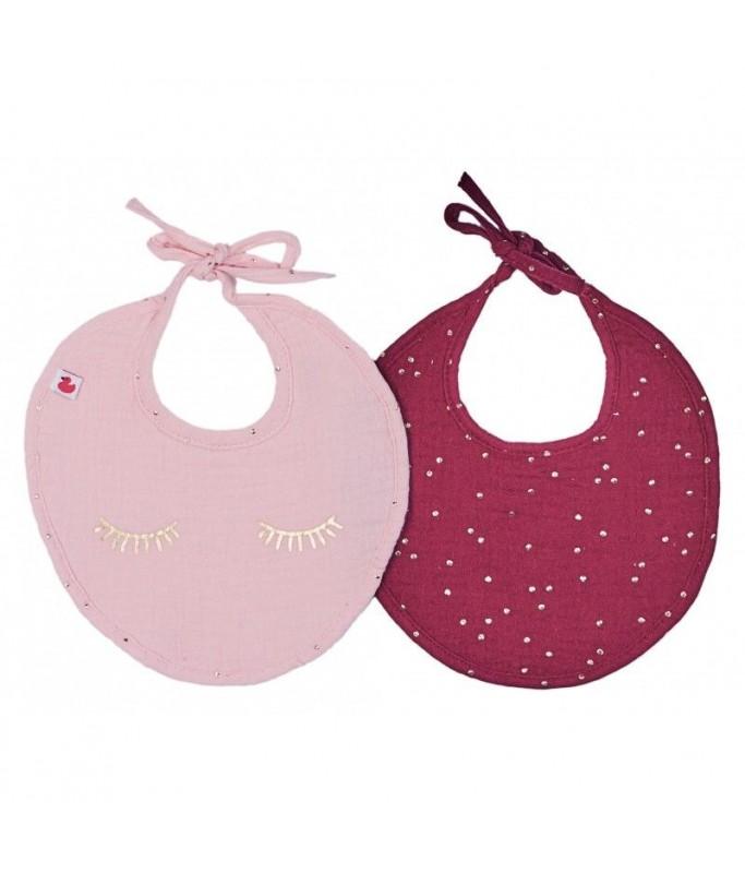 Lot 2 bavoirs blush/prune pois