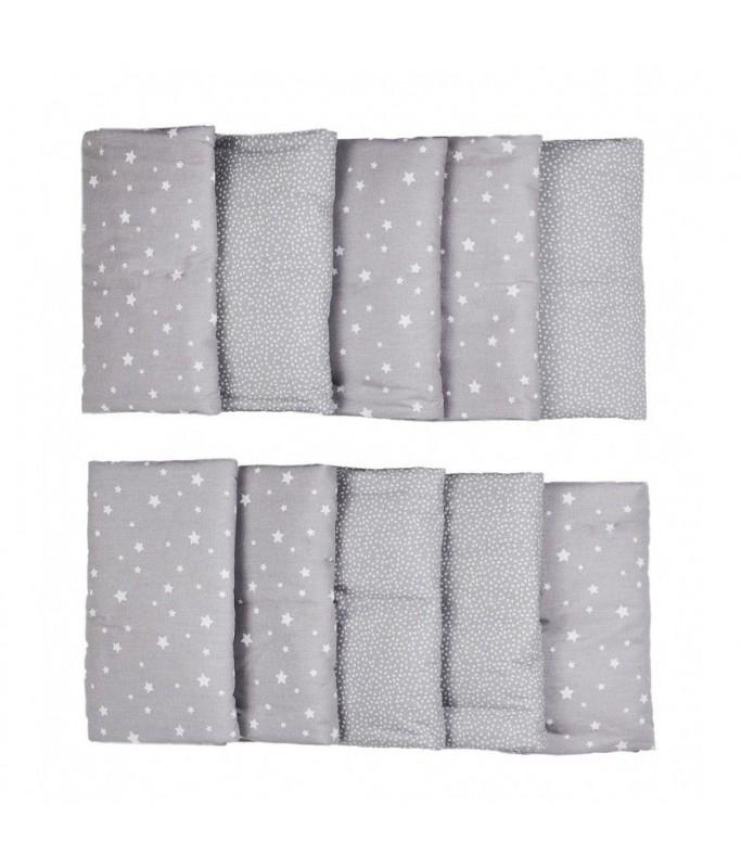 Tour de lit modulable gris/blanc