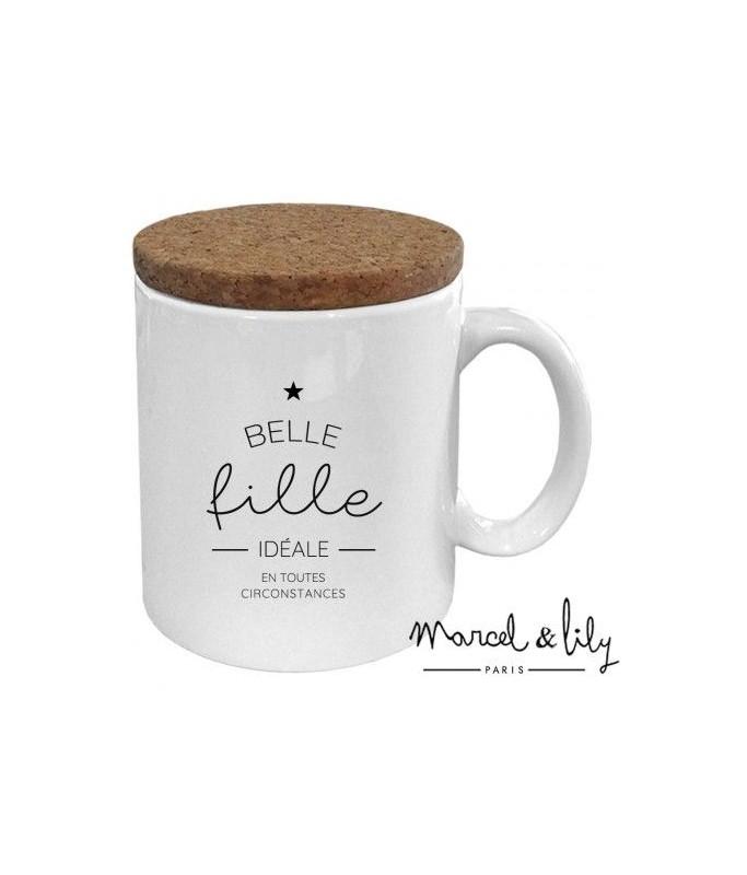 """Mug avec son couvercle en liège """"Belle fille idéale"""""""