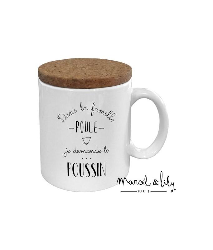 """Mug avec son couvercle en liège """"Poussin"""""""