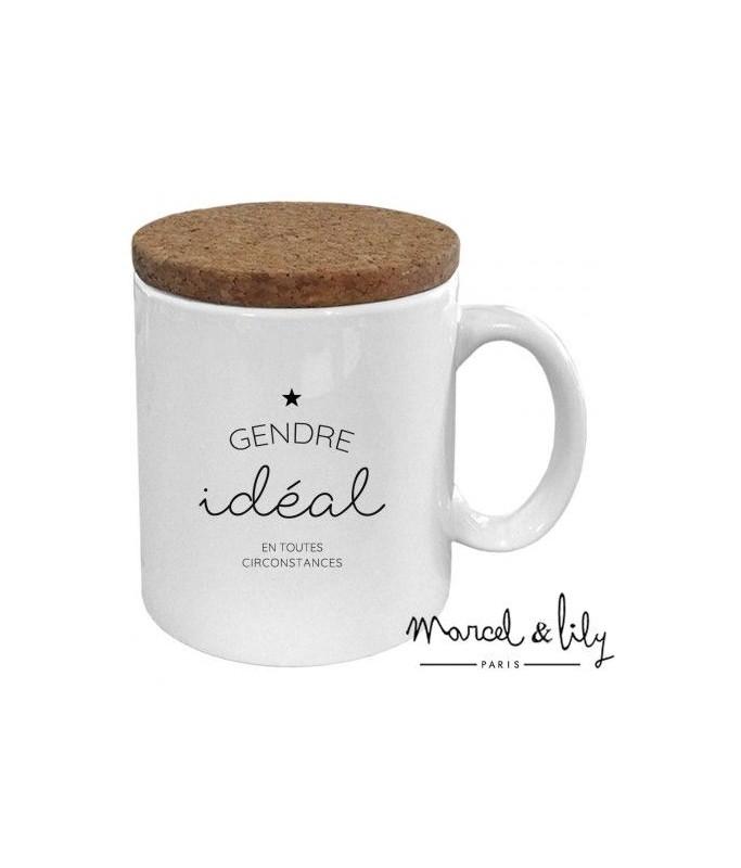 """Mug avec son couvercle en liège """"Gendre idéal"""""""