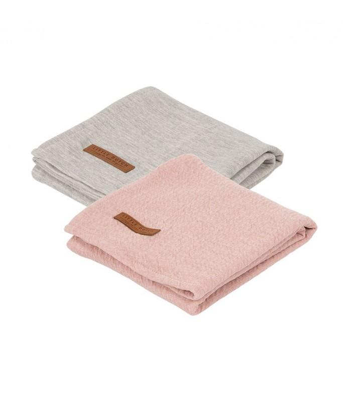 Lange  70 x 70 - pure pink /grey