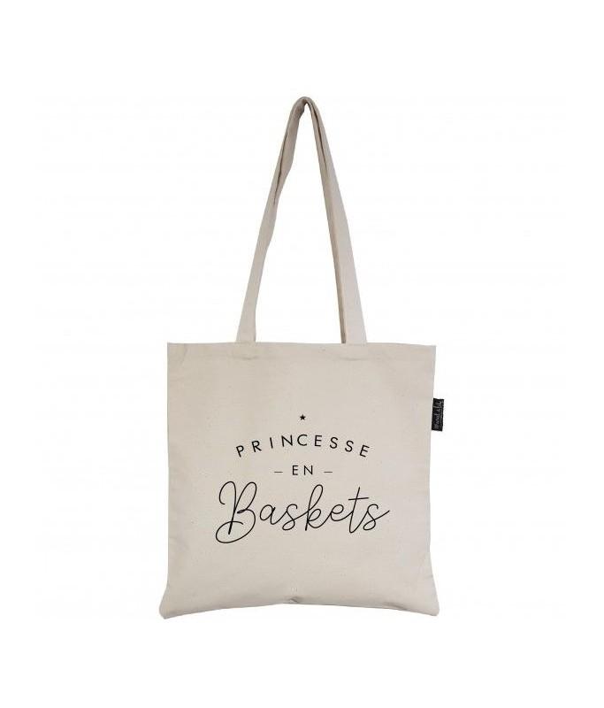 "Tote-Bag écru ""Princesse en Baskets"""