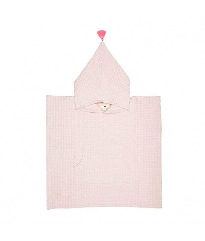 Poncho de Bain - Brune - Rose Pale