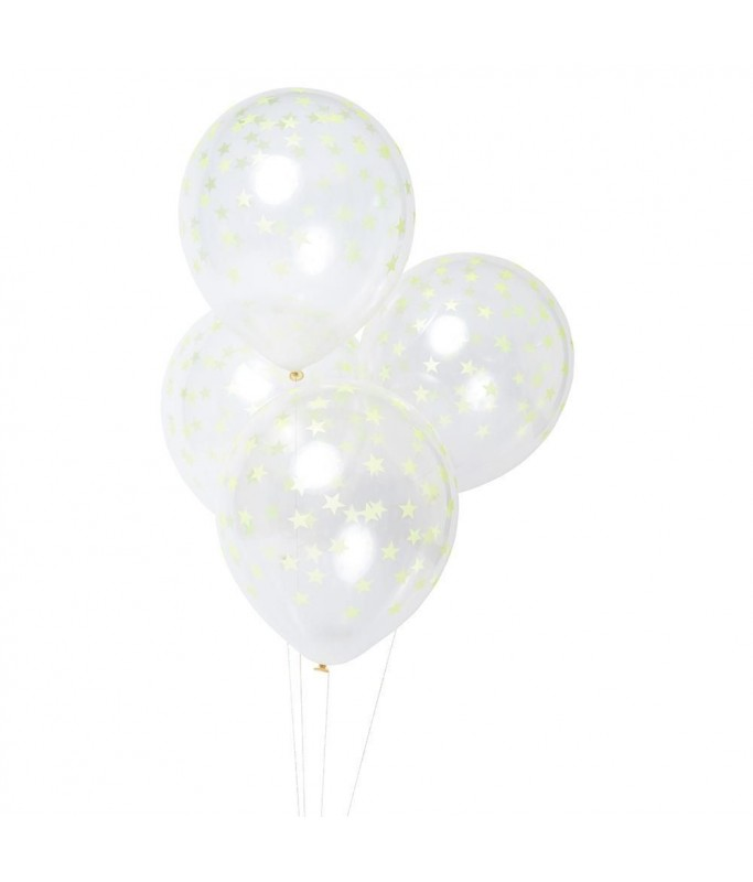 Ballons étoiles jaune flashy